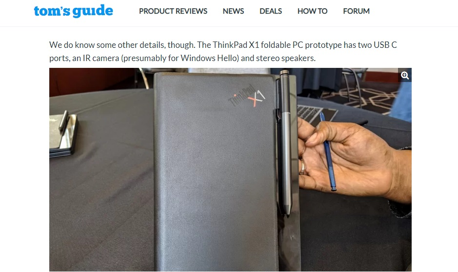 Laptop saat dilipat Lenovo foldable thinkpad x1 2019